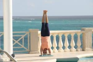 anna in sirsasana crane resort Barbados